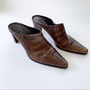 Via Spiga | Croc Embossed Block Heel Mules Leather